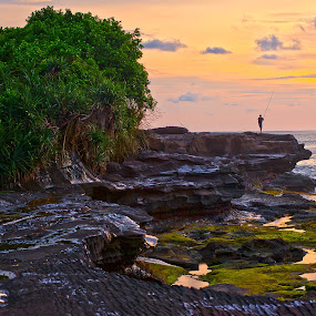 On The Rocks by Leonard Sani - Landscapes Beaches ( bali, sunset, indonesia, beach, fishing, rocks )