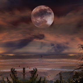 Over Or Under by Graeme Garton - Digital Art Places ( moon, creative, composit, california, crosby, mega moon )