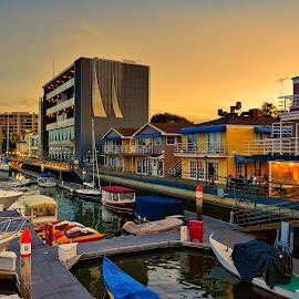 Evening Approaches Newport Harbor by David Hammond - City,  Street & Park  Vistas ( water, california, boats, harbors, sea, pacific, reflections, ocean, west coast, newport, beach, sunset, evening,  )