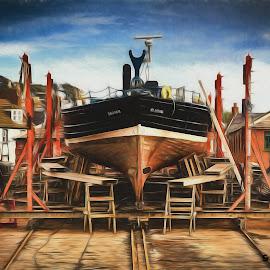 Boatbuilding A-la Dali by Stephen Hooton - Digital Art Places ( scotland, digital art, impressions of dali, dali, painting )
