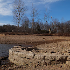 Monte Ne Ruins by Jim Harris - Buildings & Architecture Public & Historical ( monte ne, submerged, stone, ruins, fireplace, stone wall )