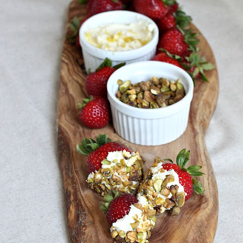 Strawberries with Lemon Mascarpone Dip and Pistachios