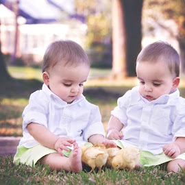 2x2x2 by Jeannie Meyer - Babies & Children Children Candids ( canon, easter, live animals, chicks, twins, little boys )