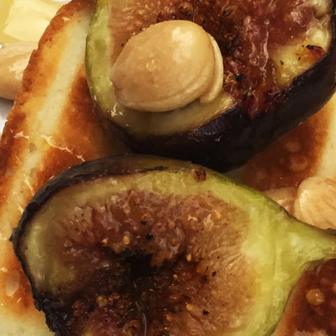 Grilled Sponge Cake and Figs with Marcona Almonds and Sour Cream Sauce