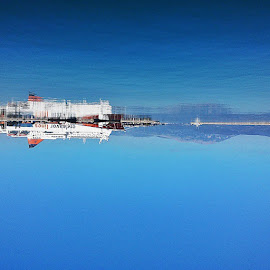 by Nikos Glms - Instagram & Mobile Android ( reflect, ship, insta_greece, port, water_reflection, blue, greece )