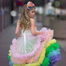 Urban princess by Carole Brown - Babies & Children Child Portraits ( urban, brown eyes, rainbow skirt, blonde hair, tiarra )