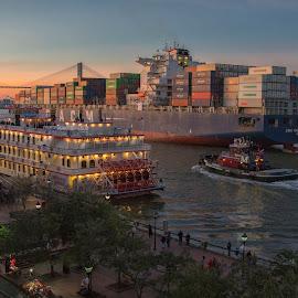 Three's a crowd by Deborah Felmey - Transportation Boats ( savannah, riverboat, tugboat, waterscape, sunset, boats, ships, bridge, landscape )