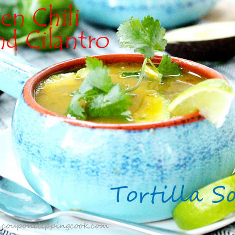 Roasted Green Chili and Chicken Tortilla Soup