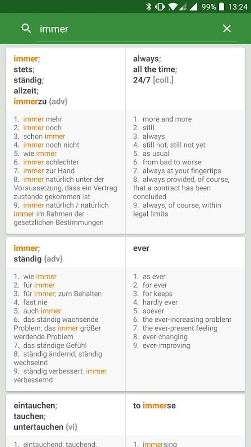 German English Dictionary Screenshot 1