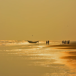 Melting Gold by Partha Pratim Hazari - Novices Only Landscapes ( water, afternoon, sea, travel, beach, seascape, boat, landscape, beaches, nature, sunset, travel photography, golden )