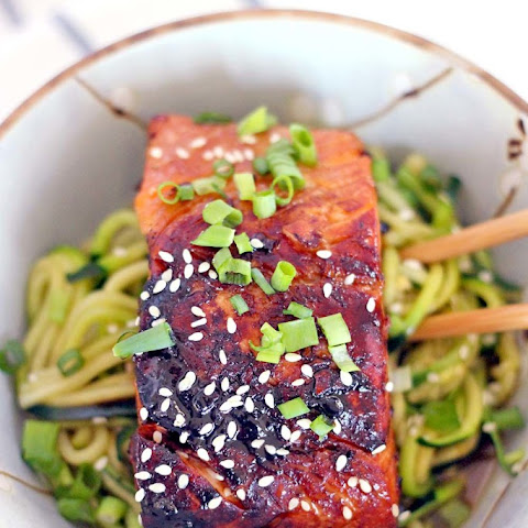 Teriyaki Salmon and Sesame Zucchini Noodle Bowl