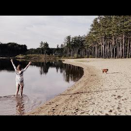 Walk on the Beach by Mary Tavis - Landscapes Beaches ( sunny, beach, summer fun, dog, walk )
