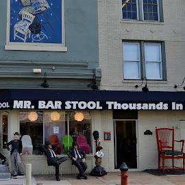 Seated Statues at Mr. Bar Stool, Pittsburgh, Pennsylvania by Sheri Harper - City,  Street & Park  Street Scenes ( mr. bar stool, pittsburgh, seated, statues, pennsylvania )