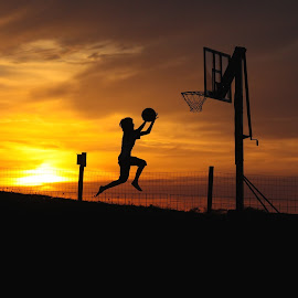 Evening Hoops! by Shari Schultz McCollough - Sports & Fitness Basketball