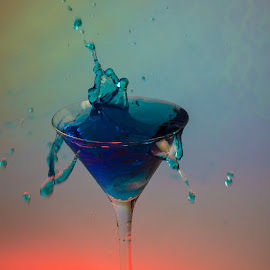 A Splash of Colour by Richard Ryan - Artistic Objects Glass ( water, colour, splash, blue, drop, glass )