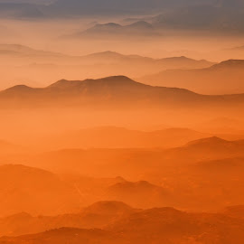 Near Yosemite by Jerry Kambeitz - Landscapes Mountains & Hills ( orange, mountains, red, fog, landscape )