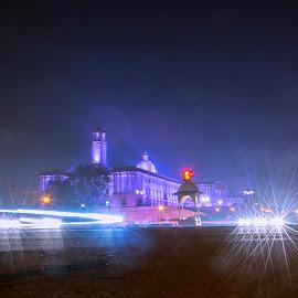 Rasteapati Bhawan  by Kallol Bhattacharjee - City,  Street & Park  Street Scenes ( night photography, starbursts, night, nikon, tokina, nightscape )