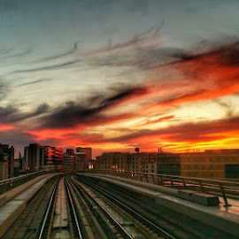 What a sunset today!!! My only wish is camera right now! by Sergiu Chirilov - Instagram & Mobile Android ( clouds, red, sky, dubai, sunset, metro, travel, mobile )
