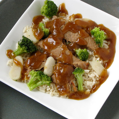 Asian Beef Brisket with Broccoli and Water Chestnuts