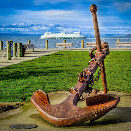 Anchor by Brad Larsen - Artistic Objects Other Objects ( water, clouds, beach, boat, dock, anchor )