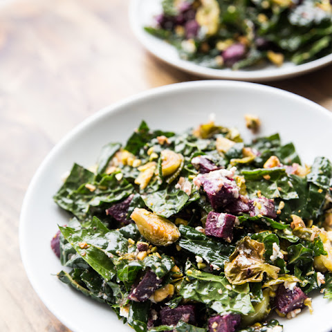 Roasted Sweet Potato, Brussels Sprout and Kale Salad with Pistachios and Goat Cheese