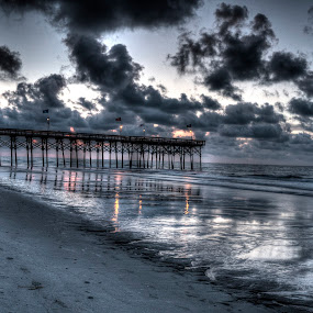 Sunrise at Myrtle Beach by Joshua Winstead - Landscapes Beaches ( water, clouds, sand, pier, ocean, beach, sunrise, morning, , golden hour, sunset )