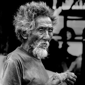 Thinking Something . ?  by Aditya Nugraha - People Portraits of Men ( old man )
