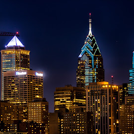 Philadelphia at night by Carol Ward - City,  Street & Park  Skylines ( skyline, night photography, philly, south street bridge, nightscape )