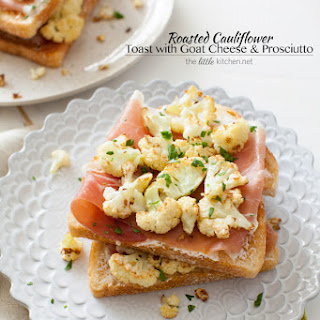 Roasted Cauliflower Toast with Goat Cheese & Prosciutto