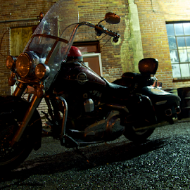 Ride out Back by Glenn Roesener - Transportation Motorcycles ( ride harley davidson, bike scooter, montercycle, night, pub, rain )