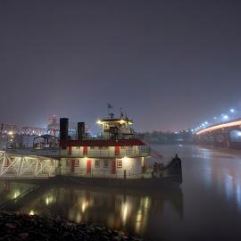 USS Patriot by Joel Thompson - Transportation Boats ( foggy, skyline, little rock, arkansas river, night, uss patriot, arkansas )