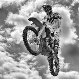 The Imperor ! by Marco Bertamé - Black & White Sports ( clouds, flying, wheel, motocross, speed, cloudy, air, high, race, noise, jump )