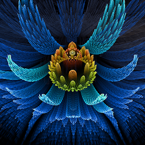 Bird of Paradise by Pam Blackstone - Illustration Abstract & Patterns ( apo, apophysis, blue, gold, feathers, fractal, flower, flame )