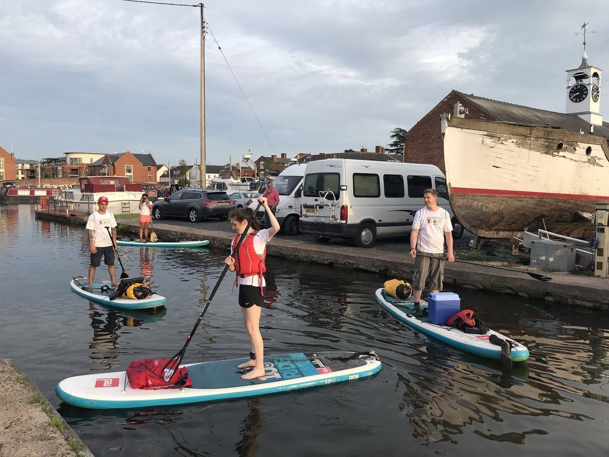 Paddleboarders getting ready for their event