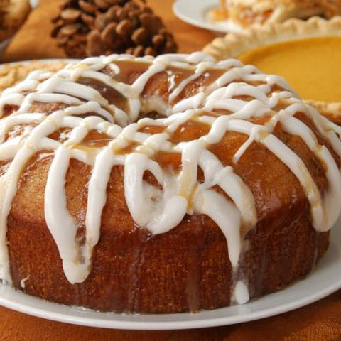 Cinnamon Apple Bundt Cake With Icing And Caramel Drizzle