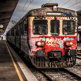 Old train by Mario Horvat - Transportation Trains ( grafitti, old, railway, railway station, train )