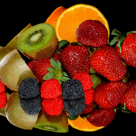 kiwi,orange,strawberry with candys by LADOCKi Elvira - Food & Drink Fruits & Vegetables ( orange, fruits )