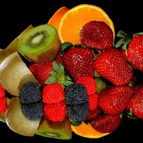 kiwi,orange,strawberry with candys by LADOCKi Elvira - Food & Drink Fruits & Vegetables ( orange, fruits )