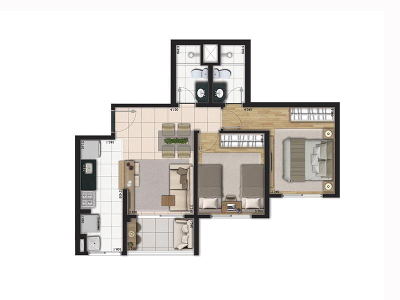 Planta Tipo 55m² com 2 Dormitórios (garden)