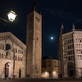 Parma Old City by Tomasz Karasek - Buildings & Architecture Public & Historical ( moon, night, chirch, old town, parma, italy, tower )