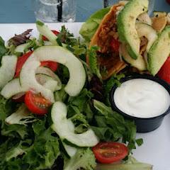 BBQ pork tacos with avocado, and chipotle sour cream.  Side salad.