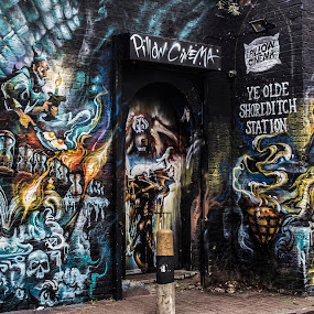 London Graffiti by Corin Spinks - City,  Street & Park  Street Scenes ( fantasy, london, fantasy art, graffiti, street art, art, street, painting,  )