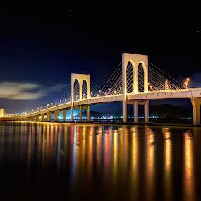 The Way to Golden City by Gema Goeyardi - Landscapes Travel ( macao, casino, bridge )