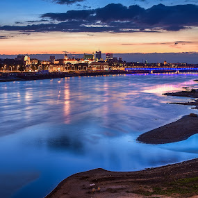 Blue Hour in Warsaw by Wojciech Toman - Landscapes Sunsets & Sunrises ( reflection, color, sunset, blue hour, landscape, warsaw, river, poland )