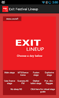 Screenshot of Exit Festival Lineup 2015