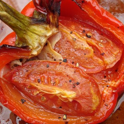 Roasted Red Peppers With Tomatoes, Anchovy and Garlic