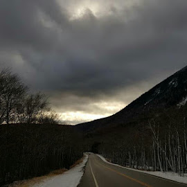 Snowy NH by Caleb Daniel - Landscapes Mountains & Hills ( clouds, winter, fog, snow, road )