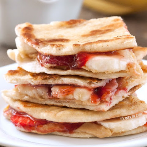 Peanut Butter, Strawberry and Banana Quesadillas