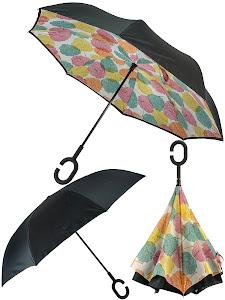 Зонт обратный, оранжевый-голубой
