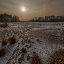 frozen lake march by Egon Zitter - Landscapes Prairies, Meadows & Fields ( winter, ice, lake, frozen )